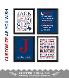 Nautical boy birth announcement nautical birth stats print birth announcement twinkle twinkle little star personalized baby gift set moon and stars baby decor birth print baby stats wall art negle Gallery