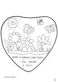 Primavera è arrivata   senti l'aria profumata;   campi e giardini sono fioriti,   i cieli azzurri e puliti.   Cantano gli uccelli sui rami ...