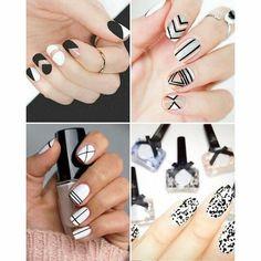 Nail polish black and white