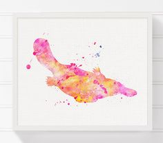 Pink Platypus Painting Platypus Art Print by MiaoMiaoDesign
