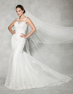 Fall in love all over again with this classic figure flattering fishtail. Soft tulle has been delicately embellished with lace and an open illusion back adds the perfect contemporary finish. Available in sizes 8 to Wedding Dressses, New Wedding Dresses, Formal Dresses, Illusion Neckline, Fishtail, Wedding Inspiration, Wedding Ideas, Wedding Details, Beautiful Dresses