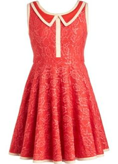 Coral Coated Dress: Features a super chic peter pan collar with contrast cream piping, intricate floral lace shell for a romantic touch, eloquently gathered A-line skirt, and a centered rear zip closure to finish.