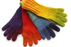 2 Pairs Wool Winter Gloves. Kauni Handknitted Rainbow Gloves. Regenbogen Handschuhe Handgestrickt aus Kauni EQ Wolle designed by dodofit