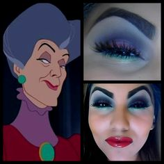 Makeup that has been inspired by Cinderella's evil stepmother. The grim overall appearance of this look shows the vibe that audiences get from the character's antagonist role. Disneyland Halloween Party, Halloween Make Up, Halloween Costumes, Halloween Face Makeup, Disney Costumes, Halloween Ideas, Disney Villains Makeup, Disney Makeup, Cinderella Makeup