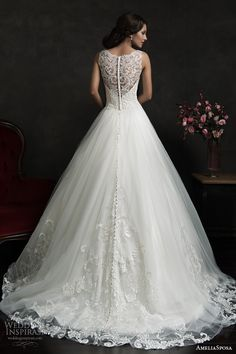 amelia sposa 2015 bridal elza sleeveless ball gown wedding dress illusion neckline back view train