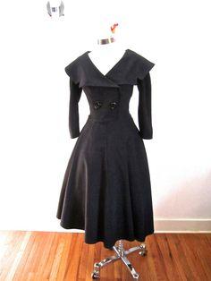 M L Bettie Page Secretary Swing Dance Dress Black 50s Style Full Skirt Classic Retro VLV Medium Large