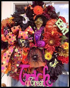 """Halloween """"frightening freida"""" wreath"""