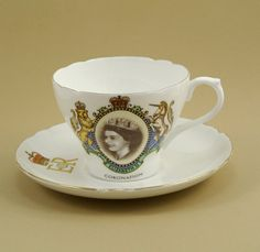 Queen Elizabeth Coronation 1953 Shelley Tea Cup, Royal Portrait and Crest $30