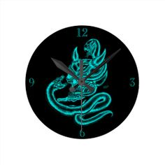 Skull - Devil Head with Snake - Round Clocks - NEW by Krisi ArtKSZP on Zazzle