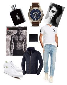 """""""Guy style"""" by fashion-girl-katrina on Polyvore featuring Polo Ralph Lauren, FOSSIL, Ralph Lauren, Converse and Burberry"""