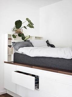 Room Ideas Bedroom, Bedroom Layouts, Bedroom Loft, Bedroom Decor, Small Space Bedroom, Small Rooms, Low Loft Beds, Student Room, Bunk Bed Designs