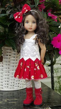Hand-knit sweater and skirt set made for Effner Little darling  dolls ebay seller kalyinny