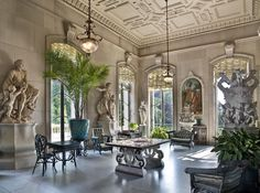 The conservatory at the Elms mansion in Newport, Rhode Island. Almost all mansions in the Gilded Age had little getaway areas for plants and relaxing.