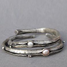 Fine Silver Anti Clastic White Pearl Cuff Price by GretchenWalker