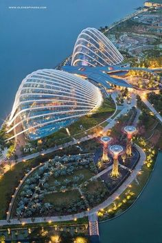 Aeerial view at dusk ...of Garden by the Bay. Beautiful huh!