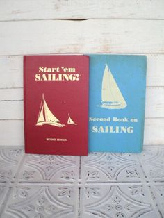 Great for little boy room decor...Start Em Sailing and Second Book on Saiing Gordon C Aymar 1959 and 1960 Nautical Book Collection. $18.00, via Etsy.