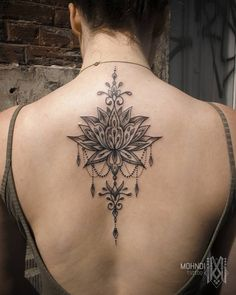 Lotusdala // jewel lotus tattoo by Mo ( Mohndi ) // Bruxelles - Brussels / Belgique - Belgium Girl Back Tattoos, Mom Tattoos, Sexy Tattoos, Body Art Tattoos, Small Tattoos, Tattoos For Women, Lotusblume Tattoo, Tattoo Hals, Lace Tattoo