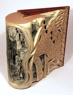 "Brian Dettmer's process    ""In this work I begin with an existing book and seal its edges, creating an enclosed vessel full of unearthed potential. I cut into the surface of the book and dissect through it from the front. I work with knives, tweezers and surgical tools to carve one page at a time, exposing each layer while cutting around ideas and images of interest. Nothing inside the books is relocated or implanted, only removed. Images and ideas are revealed to expose alternate histories…"