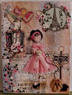 OOAK ******* Yorkie Canvas Mixed Media Prima doll*****Cindy T***craftecafe