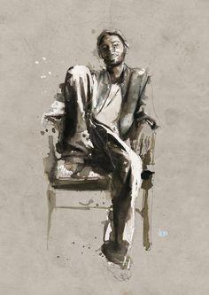 Retratos en acuarela y tinta china