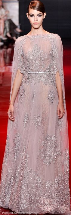 Elie Saab Haute Couture | F/W 2013. trend -pastel / dust pink, sheer embroidery