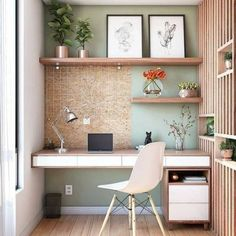 Office Nook, Home Office Space, Home Office Desks, Study Office, Desk Nook, Cozy Office, Closet Office, Home Office Shelves, Home Office Table