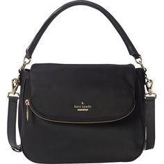kate spade new york Classic Nylon Small Devin Cro ($258) ❤ liked on Polyvore featuring bags, handbags, shoulder bags, black, designer handbags, kate spade handbag, kate spade purses, nylon handbags, nylon shoulder bag and one strap purse