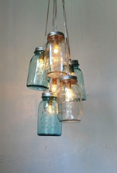 Mason Jar Lighting Chandelier Blue and Clear Glass by ivy