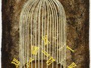 """Franco Fortunato,""""Scappano""""  (bitume,olio e tempera su carta cm.50x35)"""