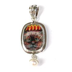Broken China Jewelry Himalyan Siamese Kitty Cat Sterling Pearl Pendant
