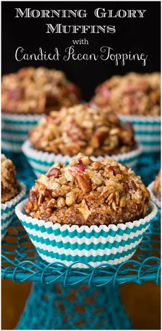 These rustically beautiful Morning Glory Muffins are moist and super delicious. They're also loaded with fiber and lots of great nutrition! Muffin Recipes, Brunch Recipes, Breakfast Recipes, Bread Recipes, Breakfast Muffins, Breakfast Time, Breakfast Ideas, Morning Glory Muffins, Candied Pecans