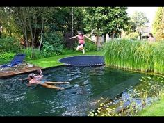 Natural pool trampoline.