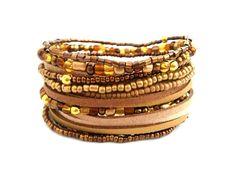 Gold Brown Beige Bracelet Wrap Bracelet Seed Bead Bracelet Beaded Bracelet Boho…