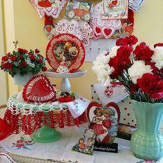 Top tier of my tea cart. Only 6 days til Valentine's Day! ❤ #hobbylobby #jaditegreen #jadite #valentine #vintagevalentine #vintagehanky #vintagetin #vintageembroidery