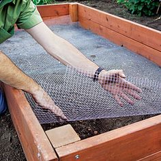 8 raised bed garden ideas   Install Lining  Rake the existing soil at the bottom of the bed to level it, then tamp it smooth. Line the bed with hardware cloth to keep out gophers and moles; trim the cloth with shears to fit around corner posts.  | Sunset.com