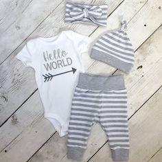 Género neutro que traje de casa, equipo casa venida, bebé, regalo del bebé, conjunto rayas gris, equipo verde set de, hospital bebé