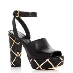 8897ae7e928 MICHAEL Michael Kors Black Trina Ankle-Strap Leather Platform Sandals - Sale