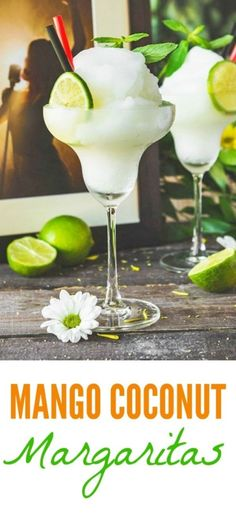 I try to avoid excess sugar in cocktails but this coconut mango margarita recipe is great because mangoes are naturally sweet & a great pairing with coconut Frozen Margaritas, Homemade Margaritas, Frozen Drinks, Summer Drinks, Fun Drinks, Alcoholic Drinks, Vodka Cocktails, Drinks Alcohol, Mixed Drinks