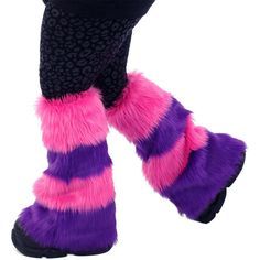 Pawstar Cheshire Cat Striped Furry Leg Warmers Fluffies Stripe Striped... ($45) ❤ liked on Polyvore featuring intimates, hosiery, leg warmers, purple, women's clothing, purple leg warmers, faux fur leg warmers and striped leg warmers