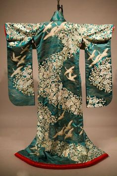 Wedding Kimono, late century, machine-made, Costar Japanese Geisha, Japanese Fashion, Asian Fashion, Traditional Kimono, Traditional Dresses, Kimono Japan, Kimono Design, Wedding Kimono, Kimono Pattern