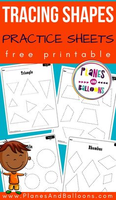 Free printable tracing shapes worksheets for preschool - teaching shapes in preschool and kindergarten. Shape Worksheets For Preschool, Shape Tracing Worksheets, Shapes Worksheet Kindergarten, Tracing Shapes, Free Printable Worksheets, Preschool Printables, Preschool Kindergarten, Preschool Activities, Preschool Shapes