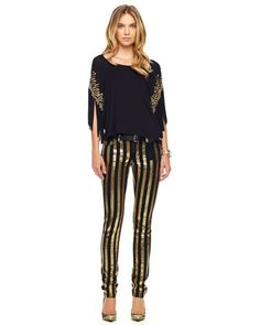 Embellished Fringe Top & Sequin-Stripe Skinny Jeans by MICHAEL Michael Kors at Neiman Marcus.