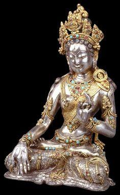 New York Asia Society Museum seventeenth century Tibetan silver inlaid gold and other precious stones: White Tara seated appreciation Author: Hui-day Buddhist Arthttp://blog.sina.com.cn/u/3243775953