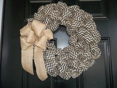 New 18  Natural and Black Chevron  Burlap Wreath by cindidavis1, $30.00