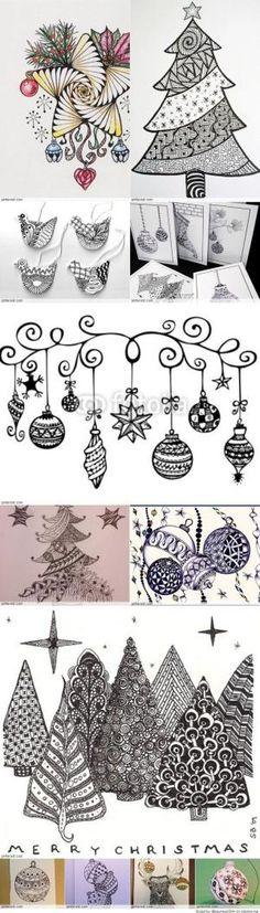 Christmas Zentangle Patterns #Arts Design by Maria CS