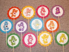 12 Care Bears Cupcake Picks by ThePookieShop on Etsy, $5.00
