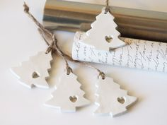 Set 4 Christmas tree ornaments - clay Christmas trees with a heart cutout. These…