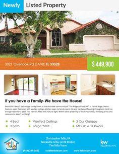 Just listed! $449,900 in Davie  3321 Overlook Rd DAVIE FL 33328
