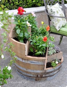 Recycled Wine Barrel Planter