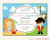 Mermaid and Pirates Birthday Invitation PRINTABLE - DIY Party for Boys and Girls Personalized (Twin / Siblings / Joint)